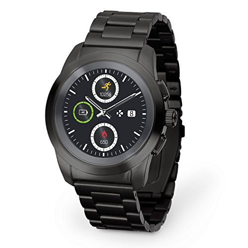 MyKronoz ZeTime Original 44 mm hybrid smartwatch with mechanical hands on a colored touch screen - brushed silver / black silicon ...