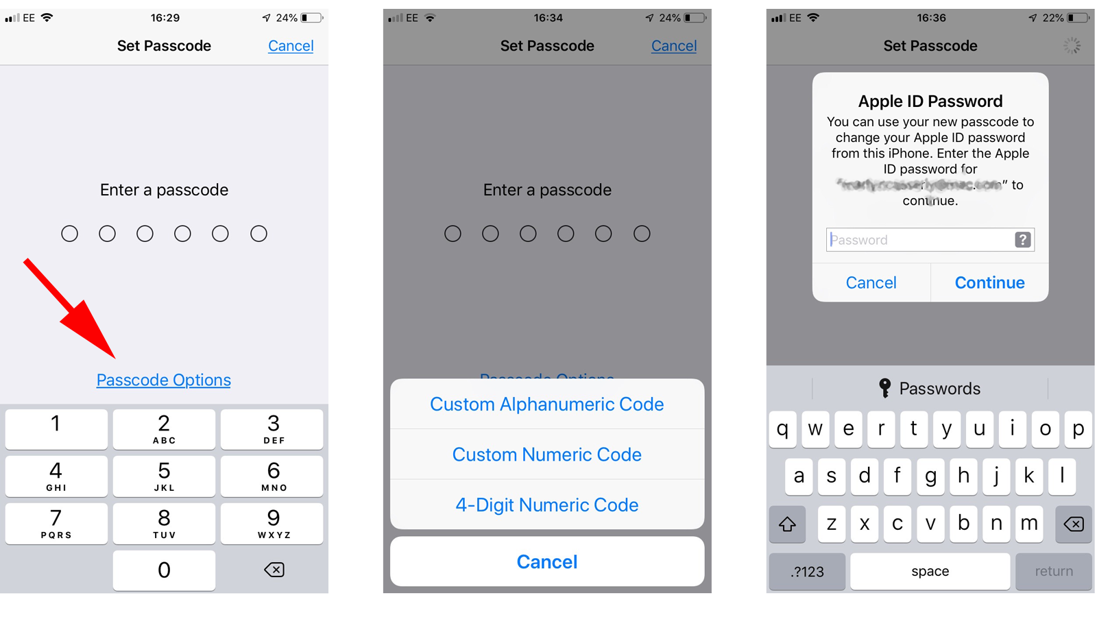 Set up a password on your iPhone: Code Options only