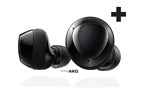 Samsung Galaxy Buds + Plus, true wireless headsets with improved battery and call quality (wireless charging case included), black - American version
