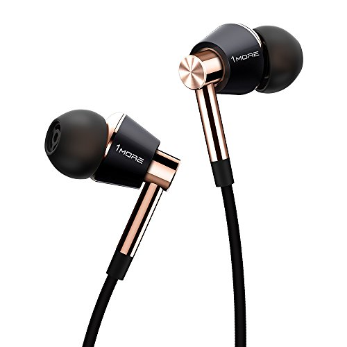 1MORE In-ear headphones with triple driver High resolution headphones with high resolution, bass-oriented sound, MEMS microphone, in-line remote control, high fidelity for smartphones / PC / Tablet - Golden