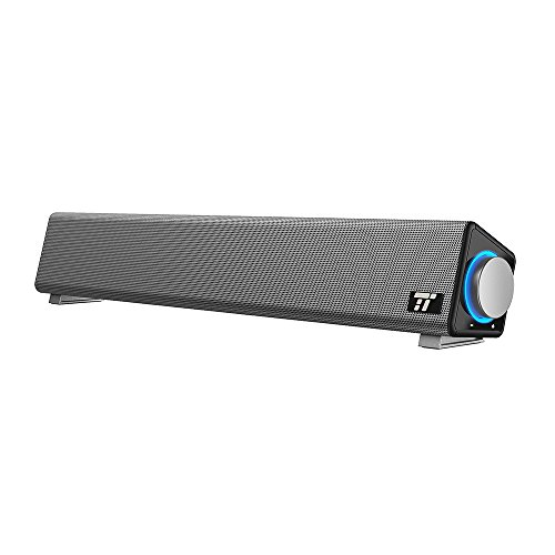 TaoTronics computer speakers, Wired computer sound bar, USB powered mini stereo speaker for tablet PC