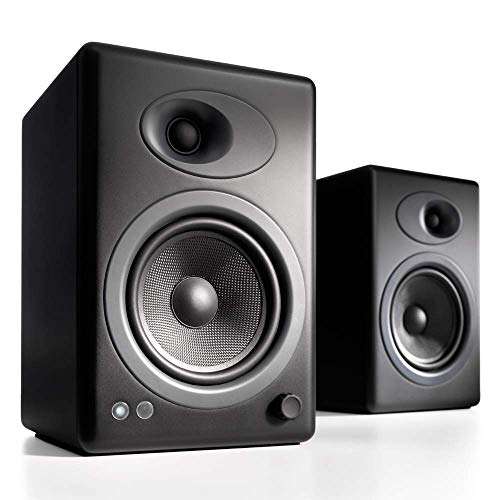 Audioengine A5 Plus Classic 150W Shelf Speakers with Remote, Built-in Analog Amplifier - Black