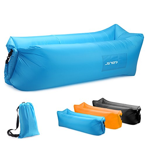 JSVER Inflatable Air Sofa Lounger with Portable Package for Travel, Camping, Hiking, Pool and Beach Parties, Blue