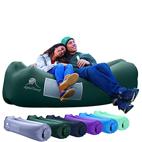 Inflatable lounger AlphaBeing - the best air lounger for travel, camping, hiking - inflatable sofa ideal for pool and beach parties ...