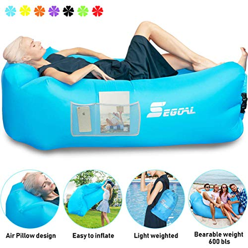 Inflatable Lounger Air Sofa Pouch Inflatable Sofa Air Chair Hammock with Waterproof Portable Anti-Air Leaking Pillow for Outdoor Camping ...