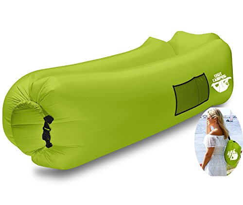 Legit Camping inflatable lounger by with carrying bag and pockets inside / outdoors - inflatable sofa and air chair with headrest ...