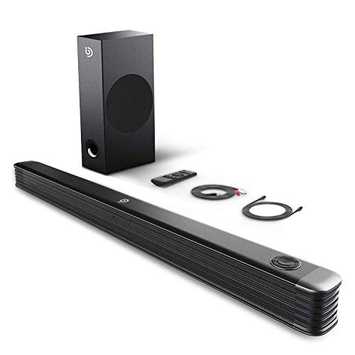 Sound bar, Bomaker TV Soundbar with wireless subwoofer, 150W 2.1 Sound Bar, 34 inches wired and wireless Bluetooth 5.0, Optical / Aux / USB / Coaxial, wall mountable, Bass Adjustable surround sound for Home Theater