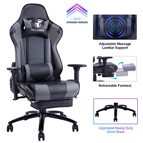 KILLABEE 350lb large and tall metal massage chair base - adjustable lumbar massage cushion, retractable footrest ...