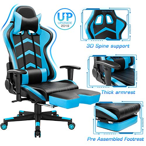 Furmax Gaming Chair High Back Office Racing Chair, Swivel ergonomic computer chair Executive leather desk chair with footrest, ...