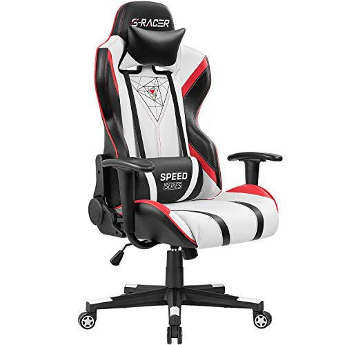 Homall Gaming Racing Office Computer back PU leather chair, ergonomic and swivel executive chair with headrest (red), black