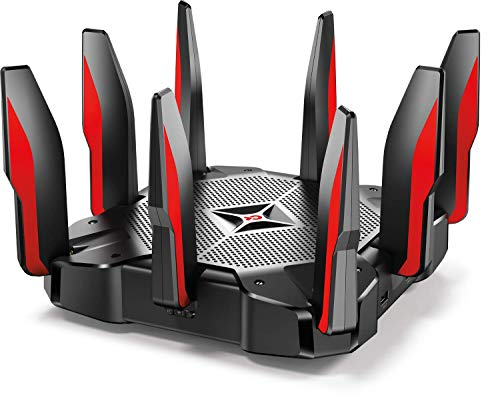 TP-Link AC5400 Tri-Band Gaming Router - MU-MIMO, 1.8 GHz 64-bit quad-core CPU, in-game priority, link aggregation, 16 GB storage, airtime, Wi-Fi protected , works with Alexa (Archer C5400X)
