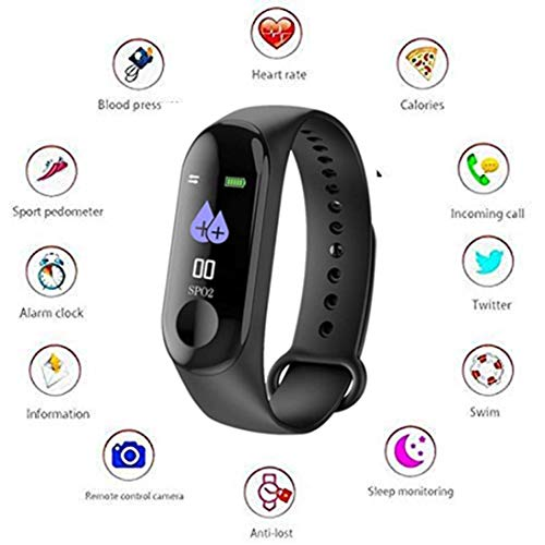 Meya Happy Fitness Bands M3 Smart Band Fitness Tracker Watch Heart rate band with activity tracker Waterproof body functions ...