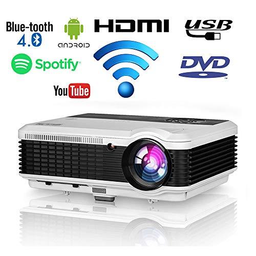 EUG 4600 lumen Wxga HD LED Android Smart Home Theater Projector with Wifi Bluetooth 1080P Support Airplay Miracast Wireless HDMI ...