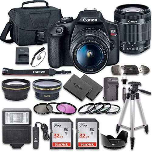 Canon EOS Rebel T7 DSLR Camera Package with Canon EF-S 18-55mm f / 3.5-5.6 is Lens II + 2pc 32GB SanDisk Memory Cards + Accessory Kit
