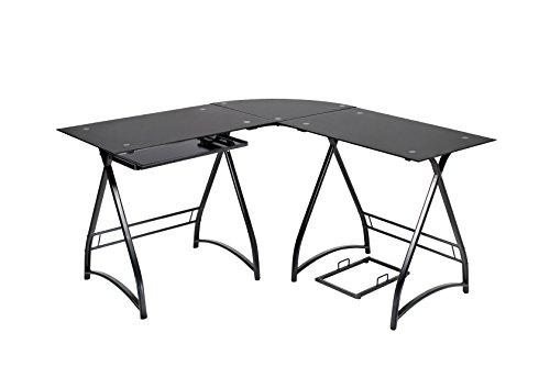 Naomi Home 3-Piece Allison Stylish Corner Shaped Black Computer Table
