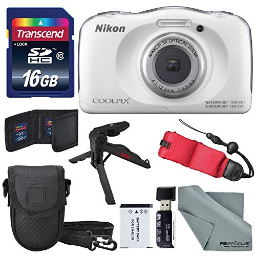 Nikon COOLPIX W100 digital camera (white) Basic package with floating strap + 16 GB + tripod + SD / SDHC reader + battery + case + FiberTiqueCleaning fabric