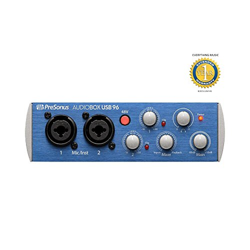 PreSonus AudioBox USB 96 2-channel 24-bit / 96kHz USB2.0 audio interface with 1 year free EverythingMusic extended warranty