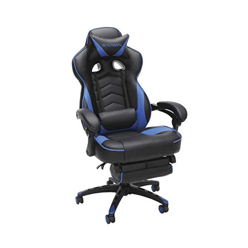 RESPAWN-110 racing chair - Ergonomic reclining leather chair with footrest, office or gaming chair (RSP-110-BLU)