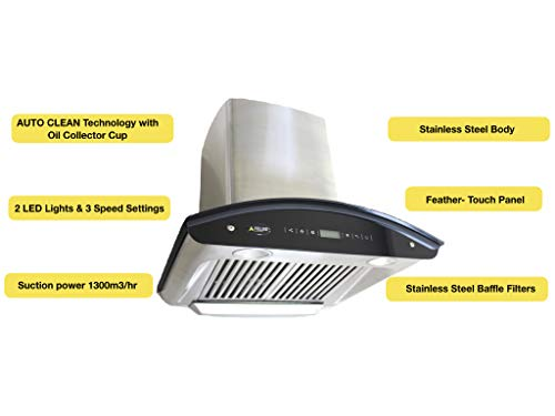Auto Clean Felixe kitchen chimney diamond - 60 cm (2 feet) with curved glass, stainless steel in suction and ...