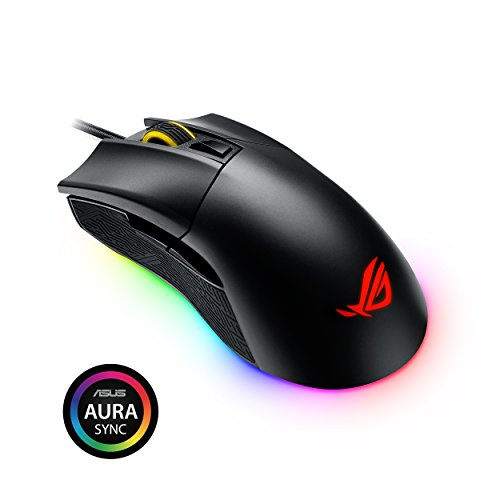 ASUS ROG Gladius II Origin USB wired ergonomic FPS gaming mouse with Aura Sync RGB, 12000 DPI optical, 50G acceleration, 250 IPS sensors and interchangeable Omron switches