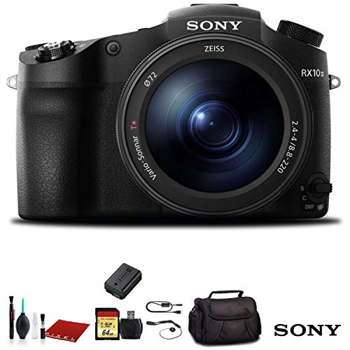 Sony Cyber-Shot DSC-RX10 IV digital camera black - set with camera case, 72 mm filter kit, 64 GB SDXC U3 card, spare battery, tripod, memory card, card reader, cleaning kit, charger double, software