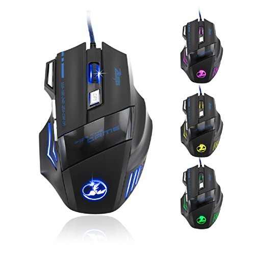 Zealots 5500 DPI 7 Button LED Optical USB Wired Gaming Mouse Mice for Pro Gamer