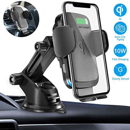 Wireless car charger mount, Cshidworld 10W / 7.5W Qi quick charging car mount, panel air vent phone holder ...