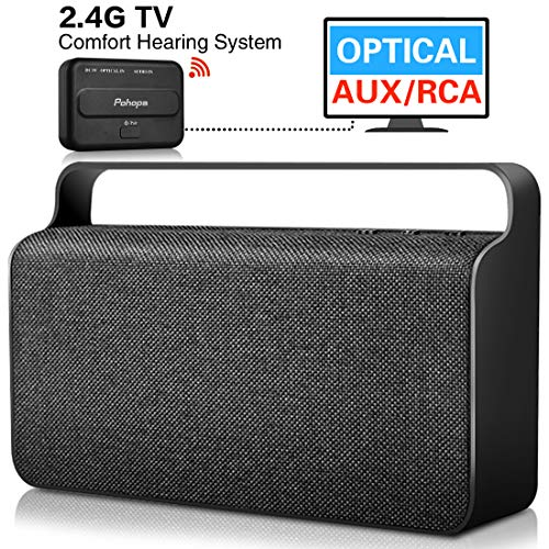 Wireless TV speaker - Pohopa Wireless speakers for watching TV, with transmitter (optical, 3.5mm AUX, RCA) Compatible Samsung LG Sony Toshiba Philips TCL ect TVS