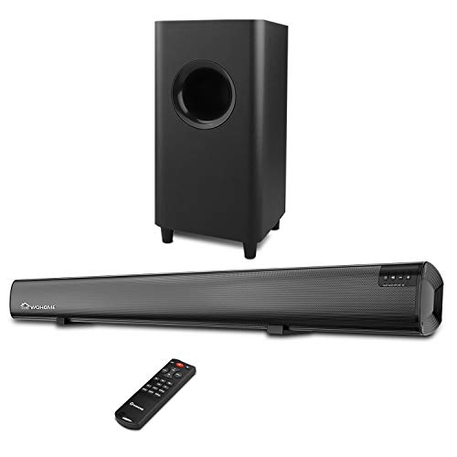 Sound bar, Wohome 2.1 channel TV sound bar with subwoofers and home cinema system Bluetooth surround 34 inch sound bar 5.5 inch subwoofer 4 speakers 120W Remote control 95dB Model S18