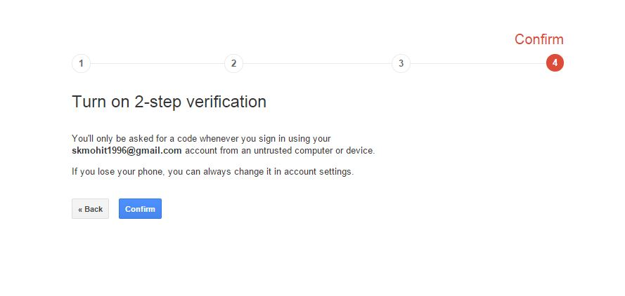 confirm to enable 2-step verification