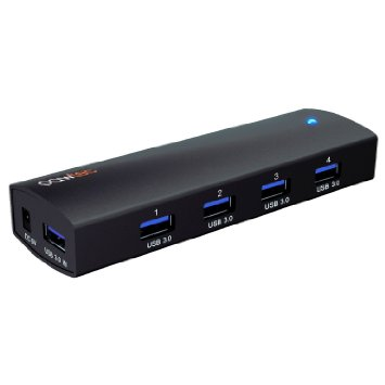 The Pawtec Compact and Portable Aluminum Adapter USB 3.0 SuperSpeed ​​4-Port and 4-Port