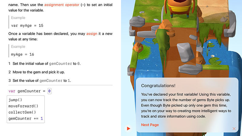 How to use Swift Playgrounds: First variable byte in Swift Playgrounds