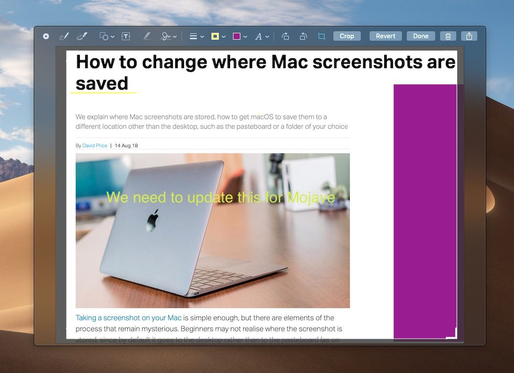 Edit screenshot in Mojave