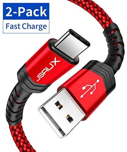 USB Type-C Cable, JSAUX (2 packages of 6.6 feet + 6.6 feet) USB A to USB-C fast charger nylon braided cable Compatible with Samsung Galaxy S10 S9 ...