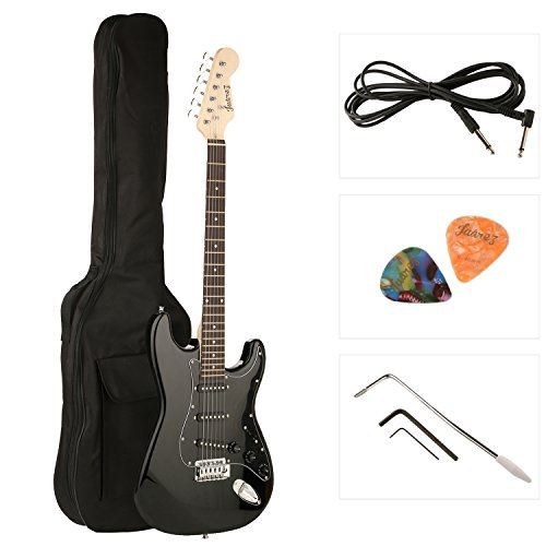 Juarez JRZ-ST01 6-string electric guitar, right handed, complete black, with case / picks and picks