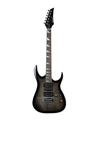Solo Vault RG1RW Electric Guitar with Cast Tuners and Double Action Truss - Rosewood Scale - Transparent Black