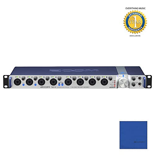 Zoom Thunderbolt TAC-8 18 x 20 audio interface with microfiber and 1 year extended warranty for everything with music