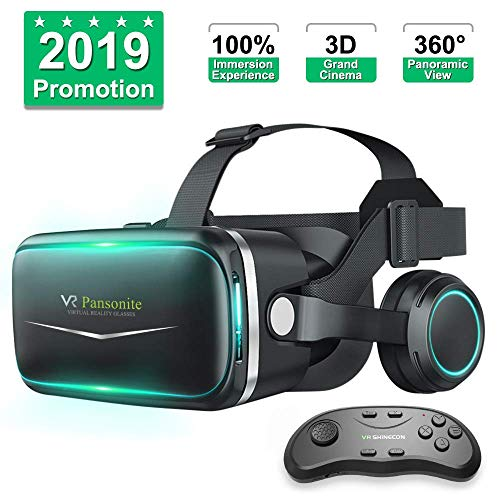 Pansonite VR headset with remote control[New Version], Virtual reality headset with 3D glasses for virtual reality games and 3D movies, Ophthalmic system for iPhone and Android smartphones