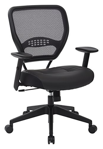 SPACE AirGrid professional seat with dark backrest and padded black leather seat, 2 to 1 synchronized tilt control, adjustable arms and tilt tension with nylon-based manager chair