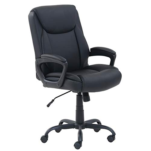 AmazonBasics Classic Puresoft Desk chair for office computer with medium back and PU back with armrest - black, BIFMA certified