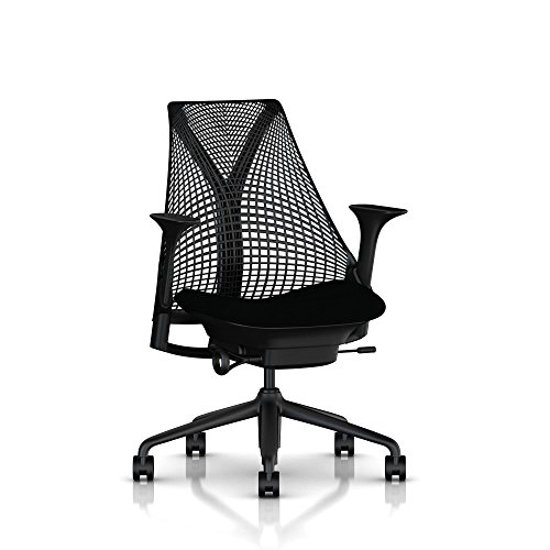 Ergonomic Herman Miller Sayl office chair with tilt limiter and carpet casters | Stationary seat depth and adjustable arms | Black frame with licorice crepe seat