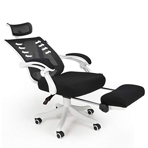 Reclining office chair Hbada | Ergonomic computer mesh recliner with adjustable high backrest | White home office chairs with footrest and lumbar support