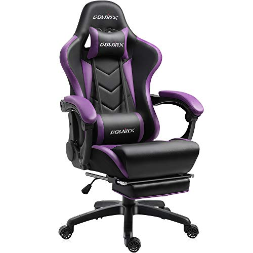 Dowinx Gaming Chair Ergonomic racing style recliner with lumbar massage support, computer office chair E-Sports Gamer leather chairs with retractable footrest (black and purple)