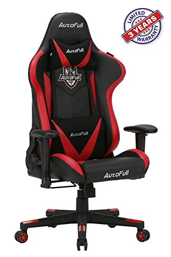 AutoFull Gaming Chair Ergonomic video game office chair PU leather bucket Race seat Red table Chairs with lumbar support (3 year warranty)