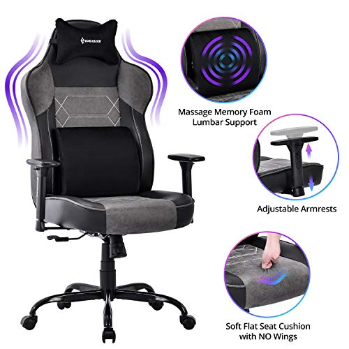 VON RACER massage gaming chair - high back Large and tall adjustable running PC Office computer table Ergonomic swivel task chair - Lumbar cushion and memory foam headrest, gray / black