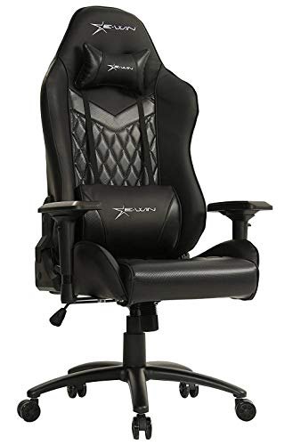 E-Win Champion Series Ergonomic Computer PC Gaming Home Office PU Leather Tall Back Desk Chair with Cushions, Black