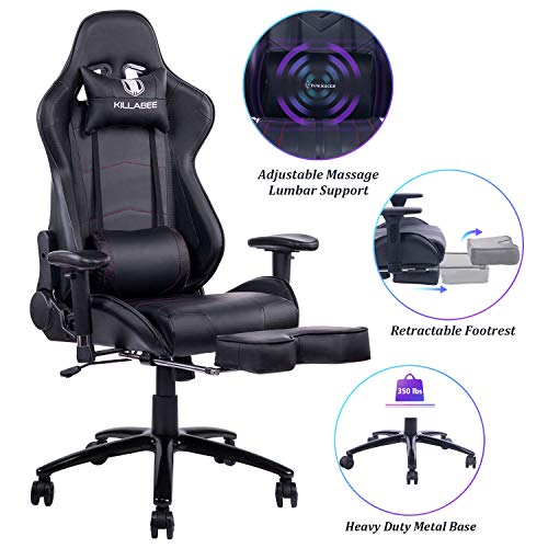 Blue whale massage games chair - large and tall 350 pounds tall rear high race computer desk office chair ergonomic executive leather swivel chair with adjustable footrest and armrests, black