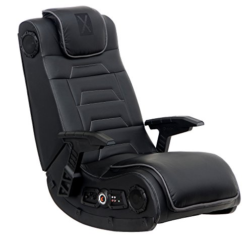 X Rocker Pro Series H3 - Video game chair with vibrating floor in black leather with headrest for adult players, teenagers and children - 4.1 High-tech audio and wireless capability - Ergonomic foldable back support