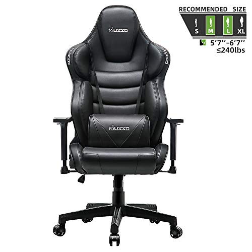 Musso executive swivel office chair, high-back racing game chair, ergonomic adjustable computer desk chair, PU leather work chair with headrest and lumbar support (black)