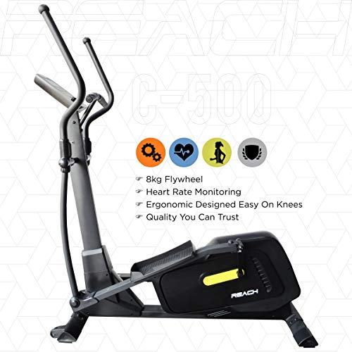 Reach the Cross Trainer elliptical machine for cardio fitness strength training at home (8 kg steering wheel)